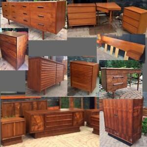 REFINISHED Mid Century Modern Teak Rosewood Dressers Walnut Bedroom Set Headboard w nightstands Wardrobe Desk Vanity