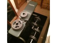 York Adjustable Fitness Bench and 40kg Dumbbells with Olympic Bars.