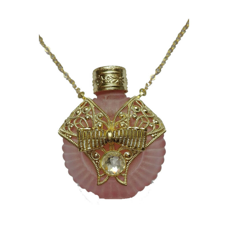 Czech Jeweled Decorative Pink Perfume Oil Bottle Holder Necklace/Pendant