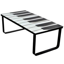 Coffee Table with Piano Printing Glass Top-241174