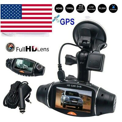 1080P HD Dual Lens Car DVR Vehicle Dash Cam Camera Video Recorder GPS G-sensor