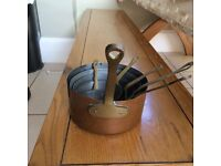 Six Antique Copper Sauce or Measuring Pans - Kitchen / Cooking