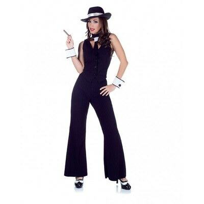 Sexy Bugsy Mob Boss Gangster Costume Black Suit Mobster Adult Women's SM-XL - Womens Gangster Suit