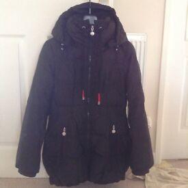 Ladies black jacket with detachable hood size medium