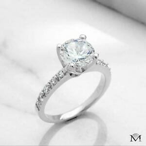 BAGUE DE FIANÇAILLES AVEC DIAMANT ROND  DE 1.25 CARAT / ENGAGEMENT RING WITH A 1.25 CARAT ROUND CUT DIAMOND