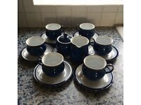 REDUCED! Denby Imperial Blue tea/coffee cups & saucers(x6) with milk jug & sugar bowl