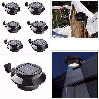 6 Pack Solar Power Outdoor Waterproof Gutter Fence LED Security Spot Flood Light