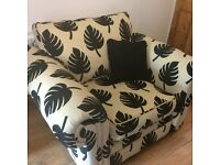 3 piece DFS suite - 3 seater sofa, armchair and footstool/pouffe
