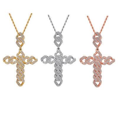 Crystal Zircon Stone Cross Shape Pendants Hip Hop Style Necklace -