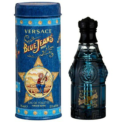 VERSACE BLUE JEANS MAN 75ML EDT SPRAY A DAMAGED TIN BARGAIN £12.99 FREE POST