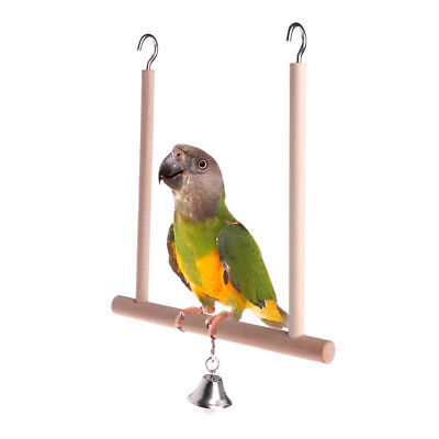 Birds Perch Parrot Play Toys Stand Holder natural Wooden Swing Bell Cage Hanging