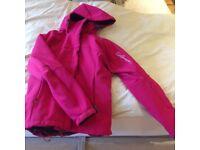Salomon ladies ski jacket. Unworn. Pink. Fleece lined. Fitted. Detachable lining and hood