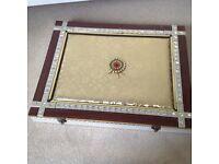 ornate wood and metal box