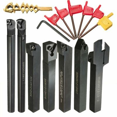 7pcs 12mm Shank Lathe Boring Bar Turning Tool Holder Set With 7 Carbide Inserts