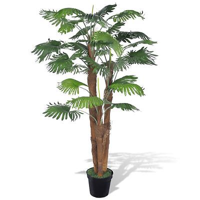 "71"" Artificial Plant Fan Palm Fake Tree Potted Patio Arrangement Home Deck Decor"