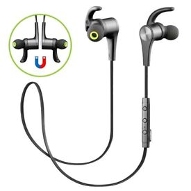 SoundPEATS Q21 Wireless Bluetooth Earphones with Magnetic Earbuds & Mic GUN METAL