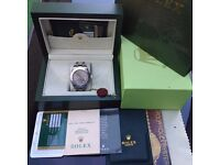 Complete box set silver bracelet with silver face rolex yachtmaster with sweeping automatic movement
