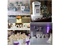 Wedding decor, postbox, backdrop, 4ft love letters, favours, chair covers, christening, babyvshower
