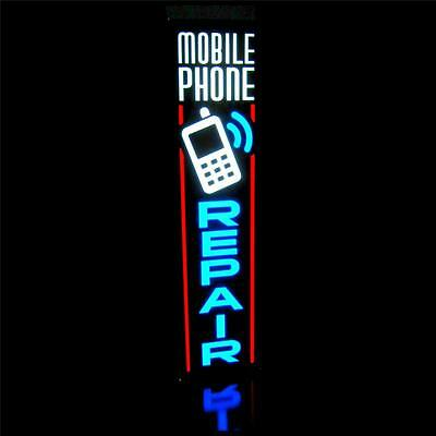 New Led Mobile Phone Repair Blue Vertical Smart Phone Sign Light Box Neon Alt