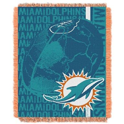 """Miami Dolphins NFL Double Play Triple Woven Jacquard Tapestry Throw 46"""" x 59"""""""