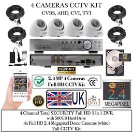 4 Cameras Full HD CCTV KIT, 4CH Total SECURITY FULL HD 5in1 DVR 1TB HDD, 4x 2.4MP Dome Cameras