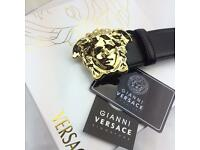 Polished gold rare medusa head soft men's leather belt versace with tags boxed