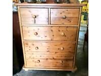 Large vintage pine chest of drawers