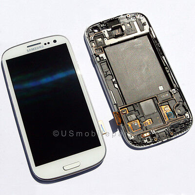 US Samsung Galaxy S3 i747 T999 LCD Touch Digitizer Screen Assembly + Frame White on Rummage