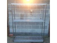 Stainless Steel Shelving unit 3 shelves very good condition 150 w x 182 H x 41 cm Deep