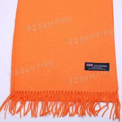 Men's 100% CASHMERE Warm PLAIN Scarf pure solid Orange Wool MADE IN SCOTLAND