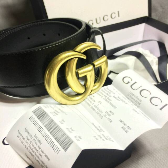 07885a2a2 Mens big buckle Gucci GG black leather belt boxed complete gift | in ...