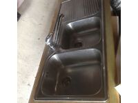 Franke stainless steel double kitchen sink & tap