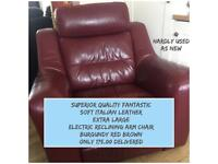 DELIVERY INCLUDED - SUPERIOR QUALITY SOFT ITALIAN LEATHER EXTRA LARGE ELECTRIC RECLINER ARM CHAIR