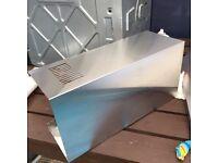 Stainless steel gas hob, splashback and hood
