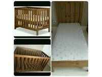 Next cot bed with mattress and quilt solid wood