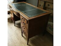 Vintage Leather Top Writing Desk