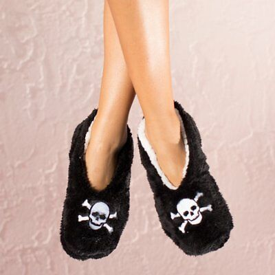 (Faceplant Dreams Footsie Slippers DEAD TIRED Skull ~Size Large 9/10 ~NWT~)