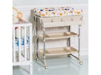 Costway UK 2 in 1 Baby Bath Tub Rolling Unit Station Storage Trays Changing Table