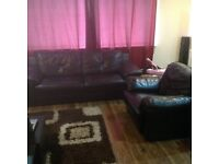 Large 2 Seater & Armchair Genuine Black Leather Sofas - Recently bought, in Decent Condition.