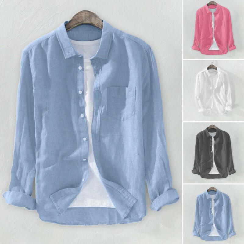 Men Baggy Solid Cotton Linen Long Sleeve Button Pocket Plus