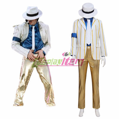 Michael Jackson smooth Criminal Cosplay Costume coat shirt necktie pants hat](Smooth Criminal Costume)