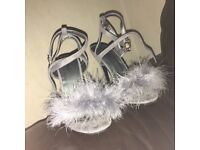 Grey fluffy heels perfect condition