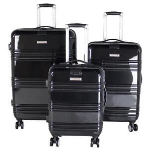 """Air Canada Hardside Roll Aboard 3 Piece Luggage Set - 20"""", 24"""" & 28"""" [ Black ]"""