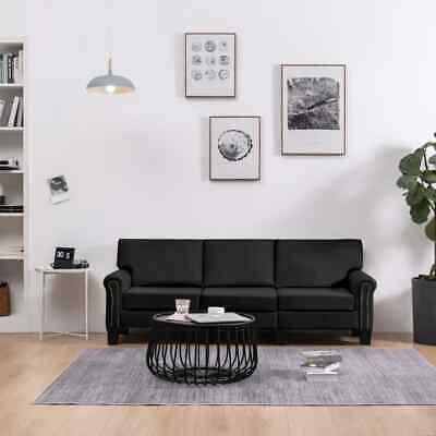 vidaXL Sofa 3-Sitzer Schwarz Stoff Loungesofa Couch Polstersofa Sitzmöbel
