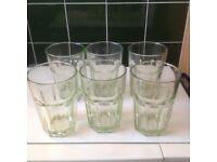 SET OF SIX LARGE GLASS TUMBLERS WITH A SUBTLE GREEN TINT - PRISTINE CONDITION AND AT CHEAP PRICE