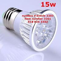LED E27 15W White Light Bulb 5x3W Super Bright Spotlight Do