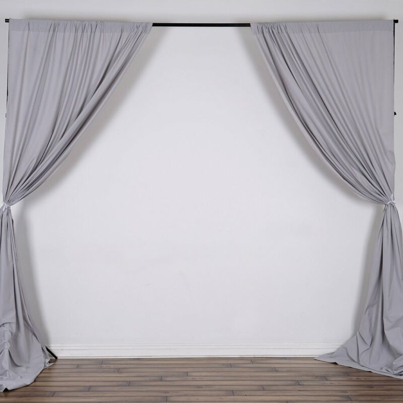 SILVER 10 x 10 ft Polyester BACKDROP CURTAINS Drapes Panels Home Light Gray
