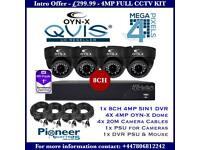 OYNX QVIS 4MP 4 Cameras Full CCTV Kit: 8ch 4MP 1TB DVR, 4x 4MP AHD Dome Cameras