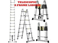 NEW 6.2m (3.1 x3.1) A FRAME ALUMINIUM MULTI PURPOSE TELESCOPIC EXTENDABLE LADDER STABILIZER WORK