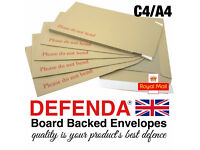 Defenda Hard Board Backed Envelopes 'Please do not bend' A3, A4